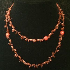 Jewelry - Vintage Watermelon Seed & Bean Necklace b010